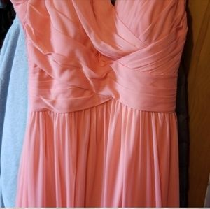 Peach Prom Dress with Criss Cross Back